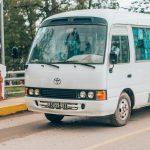 Tour minibus on the road